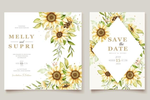 Jeu de cartes d'invitation de mariage aquarelle tournesol