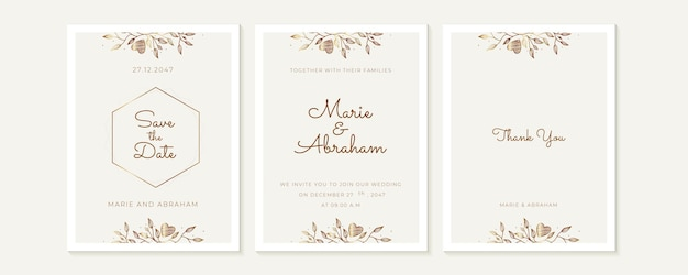 Jeu de cartes d'invitation de mariage. art aquarelle dessiné à la main, style bohème