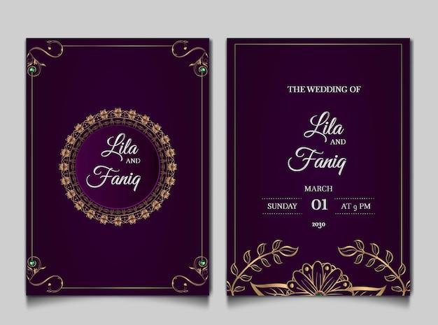 Jeu de cartes d'invitation de mariage de luxe