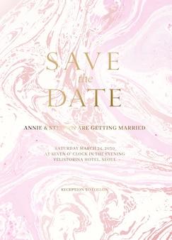 Jeu de cartes d'invitation de mariage en marbre.