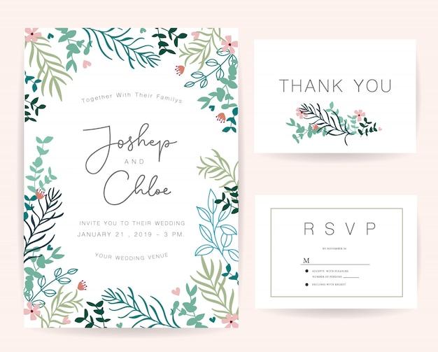 Jeu de cartes d'invitation de mariage