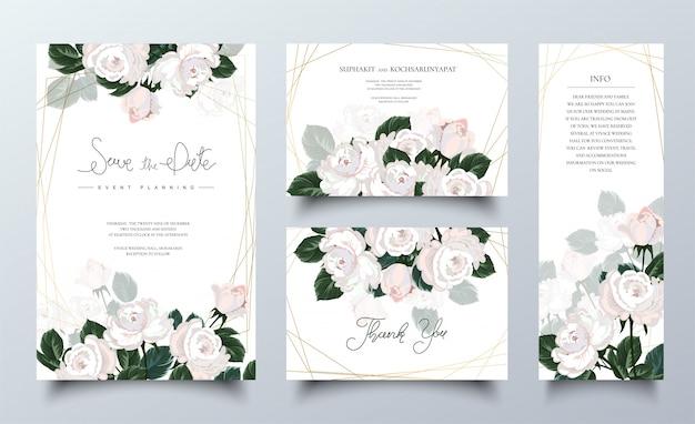 Jeu De Cartes D'invitation Rose Rose. Vecteur Premium