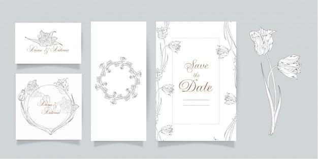 Jeu de cartes et invitations avec fleurs. fleurs de printemps. tulipes