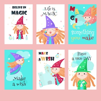Jeu de cartes avec de jolies petites enchanteresses
