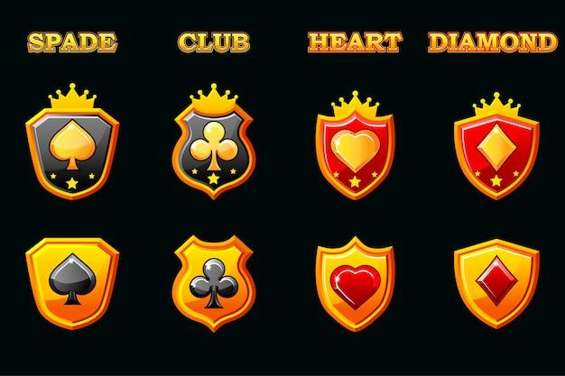 Jeu de cartes à jouer sur bouclier, symboles poker sur boucliers dorés. icônes sur un calque séparé.