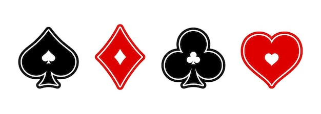 Jeu de cartes à jouer casino et poker suit sur fond blanc