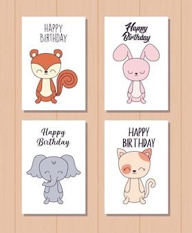 Jeu de cartes de joyeux anniversaire avec des animaux marrants