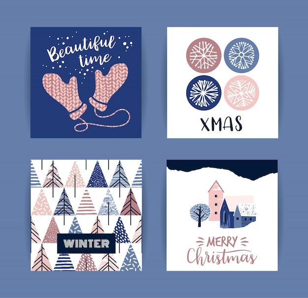 Jeu de cartes de joyeux noël et nouvel an créatif artistique.