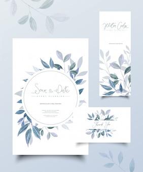 Jeu De Cartes De Mariage Floral Vecteur Premium