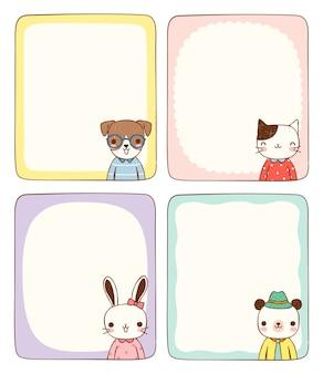 Jeu de cartes message vide avec des animaux marrants dans un style plat