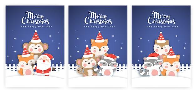 Jeu de cartes de noël et cartes de voeux de nouvel an avec des animaux mignons dans la neige.