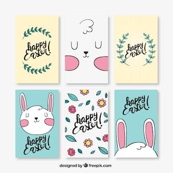 Jeu de cartes de pâques dessinés à la main