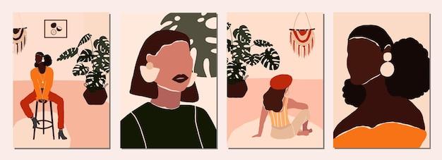 Jeu De Cartes Avec Des Personnages Féminins Modernes Abstraits Vecteur Premium
