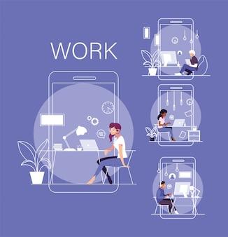 Jeu de cartes de personnes travaillant à domicile
