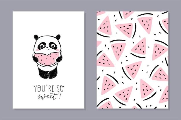 Jeu de cartes petit panda avec pastèque. personnage de panda mignon mangeant de la pastèque avec une phrase manuscrite - vous êtes si doux.