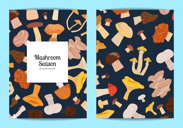 Jeu de cartes avec place pour texte avec jeu de champignons de dessin animé