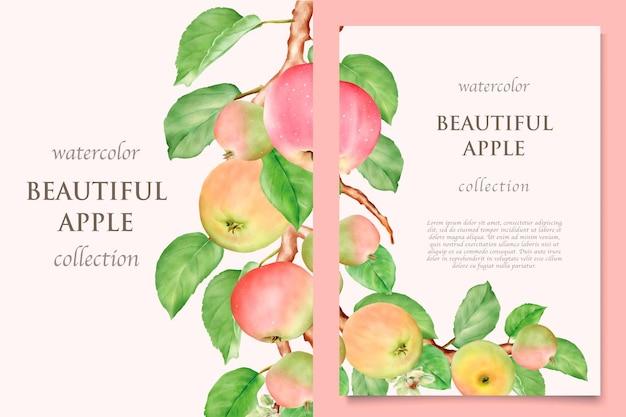 Jeu de cartes de pomme dessinés à la main aquarelle