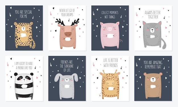 Jeu de cartes postales avec des animaux et slogan sur l'ami doodle illustration journée de l'amitié vectorielles