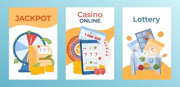 Jeu de cartes postales de jeu concept casino jackpot en ligne moderne