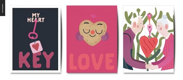 Jeu de cartes postales de la saint-valentin