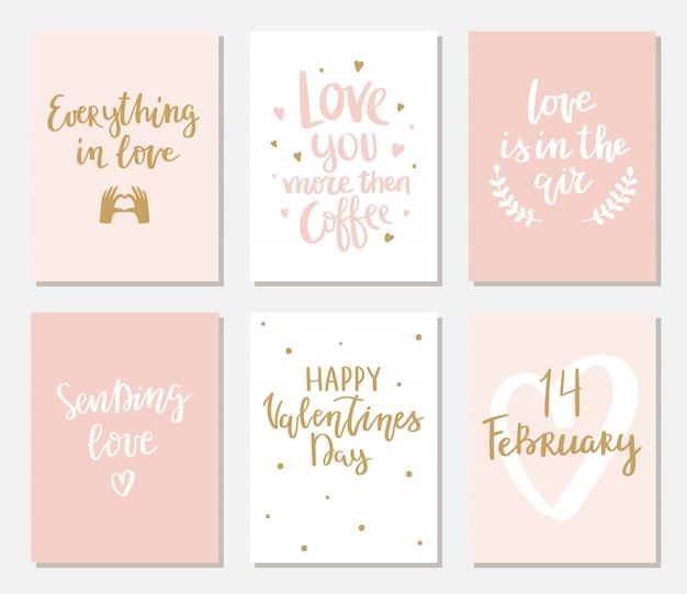 Jeu de cartes de saint valentin simples avec lettrage.