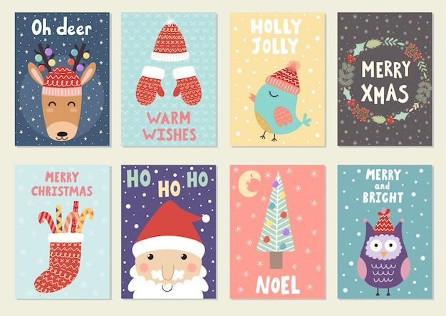 Jeu de cartes de souhaits de noël mignons. cartes postales et gravures avec renne, père noël, hibou et oiseau.