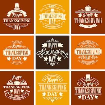 Jeu de cartes de thanksgiving.
