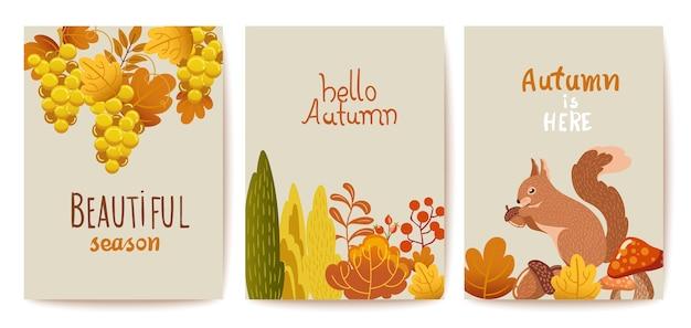 Jeu de cartes thématiques d'automne