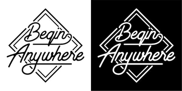 Jeu de cartes de typographie begin anywhere