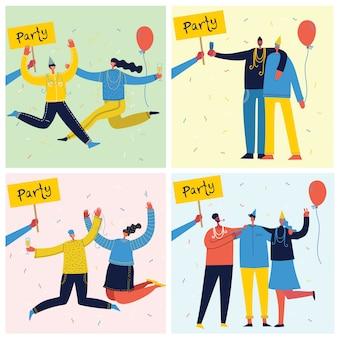 Jeu de cartes vectorielles avec groupe heureux de personnes célébrant, sautant sur la fête. le concept d'amitié, mode de vie sain, succès, fête, fête.