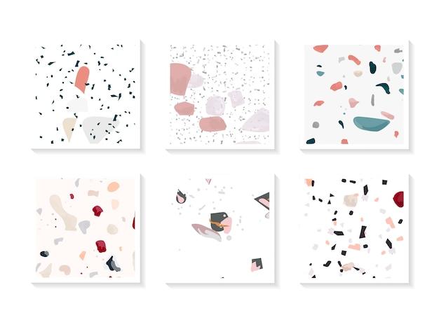 Jeu de cartes vectorielles sans soudure terrazzo coloré