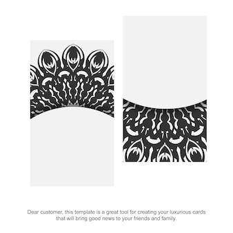 Jeu de cartes de visite couleurs blanches avec ornement mandala. conception de carte de visite prête à imprimer avec un espace pour votre texte et des motifs noirs.