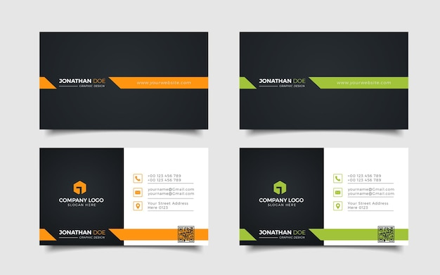 Jeu de cartes de visite d'entreprise modernes créatives