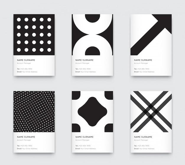 Jeu de cartes de visite verticales graphiques minimalistes propaedeutics noir et blanc