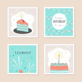 Jeu de cartes de voeux d'anniversaire