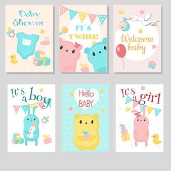 Jeu de cartes de voeux invitation bébé douche.