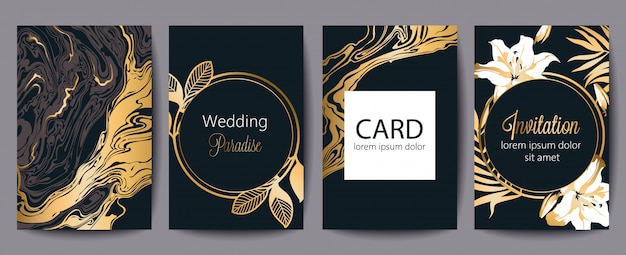 Jeu de cartes de voeux avec place pour le texte. paradis du mariage. invitation. décor noir et or. thème floral