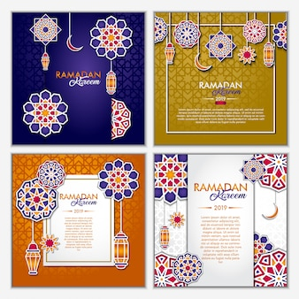 Jeu de cartes de voeux ramadan kareem