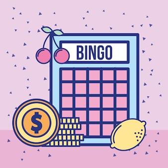 Jeu de casino bingo et pile pièces de monnaie dollar