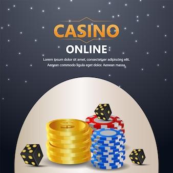 Jeu de casino en ligne avec jetons de casino et pièce d'or
