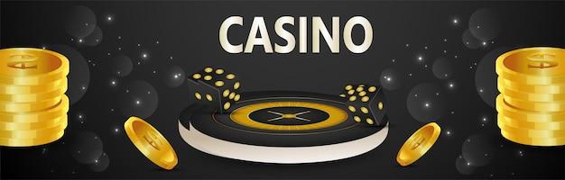 Jeu de casino réaliste avec des jetons en or