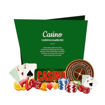 Jeu de casino réaliste de vecteur avec place pour l'illustration de texte