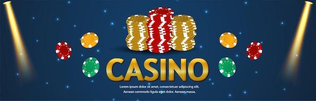 Jeu de casino vip avec jetons de casino et bannière