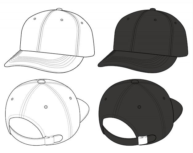 Jeu de casquettes de baseball dessin technique plat de mode