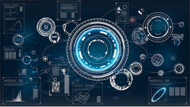 Jeu de centre de commande d'interface radar ui futuriste concept marine militaire
