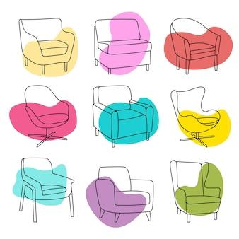 Jeu de chaises vectorielles avec des coups de pinceau. style dessiné à la main sur blanc. éléments pour la conception, les catalogues, le site de meubles