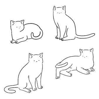 Jeu de chats minime ligne, doodle chats mignons, illustration de style dessiné à la main.