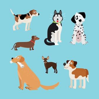 Jeu de chiens heureux de dessin animé de vecteur