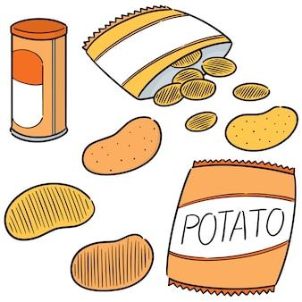 Jeu de chips de pomme de terre vectorielles