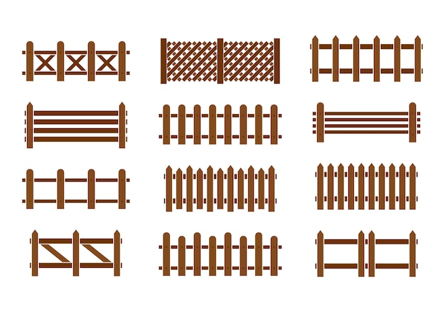 Jeu de clôture en bois. différents modèles de clôtures et de murs.